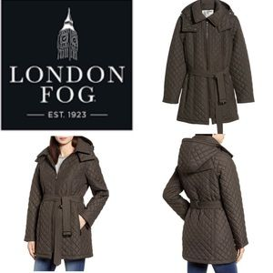 London Fog Diamond Quilted Hooded Jacket G12